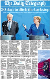 The Daily Telegraph (UK) Newspaper Front Page for 22 August 2019