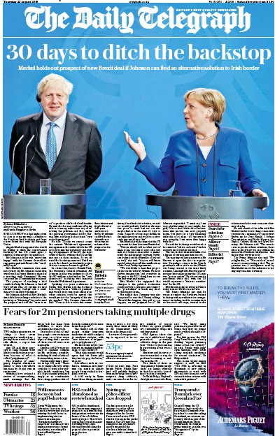 The Daily Telegraph Newspaper Front Page (UK) for 22 August 2019