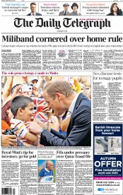 The Daily Telegraph (UK) Newspaper Front Page for 22 September 2014