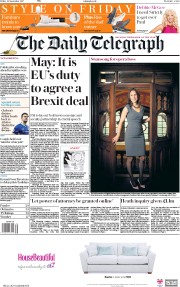 The Daily Telegraph (UK) Newspaper Front Page for 22 September 2017