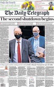 The Daily Telegraph front page for 22 September 2020