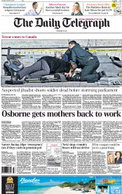 The Daily Telegraph (UK) Newspaper Front Page for 23 October 2014