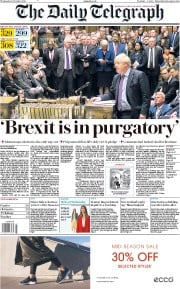The Daily Telegraph (UK) Newspaper Front Page for 23 October 2019