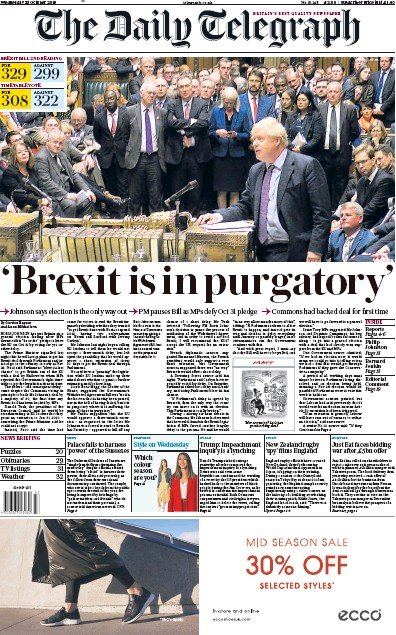 The Daily Telegraph Newspaper Front Page (UK) for 23 October 2019