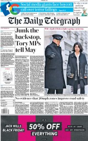 The Daily Telegraph (UK) Newspaper Front Page for 23 November 2018