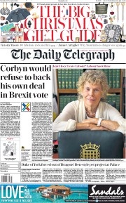 The Daily Telegraph (UK) Newspaper Front Page for 23 November 2019