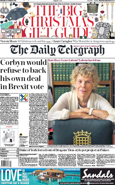 The Daily Telegraph Newspaper Front Page (UK) for 23 November 2019