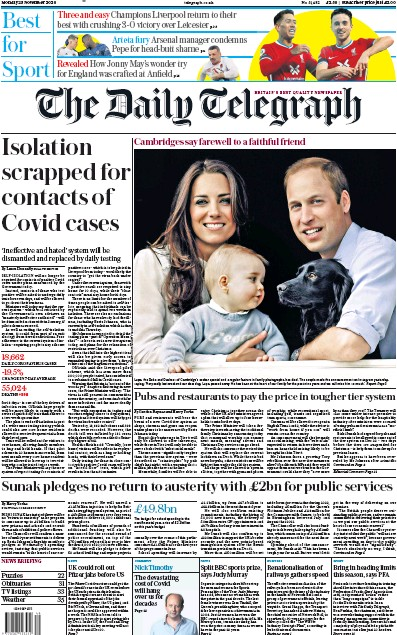 The Daily Telegraph Newspaper Front Page (UK) for 23 November 2020