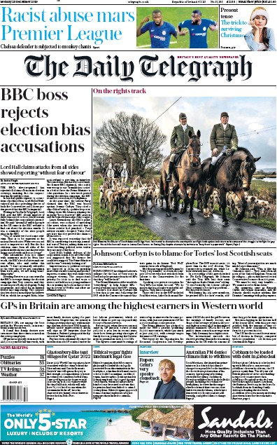 The Daily Telegraph Newspaper Front Page (UK) for 23 December 2019