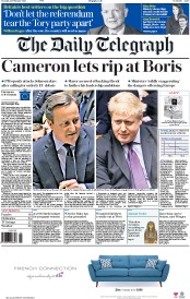 The Daily Telegraph (UK) Newspaper Front Page for 23 February 2016