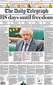 The Daily Telegraph front page for 23 February 2021