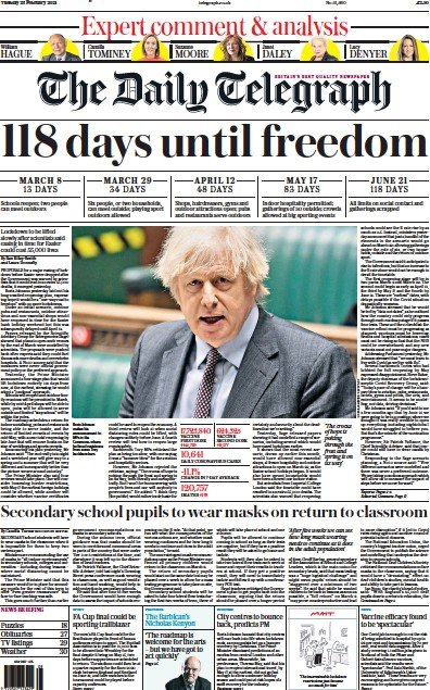The Daily Telegraph Newspaper Front Page (UK) for 23 February 2021