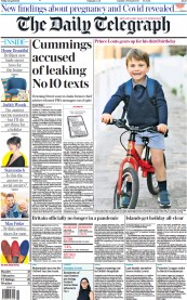 The Daily Telegraph front page for 23 April 2021