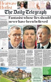 The Daily Telegraph (UK) Newspaper Front Page for 23 July 2019