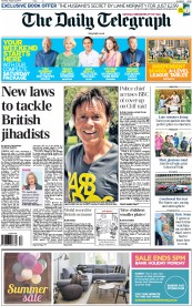The Daily Telegraph (UK) Newspaper Front Page for 23 August 2014