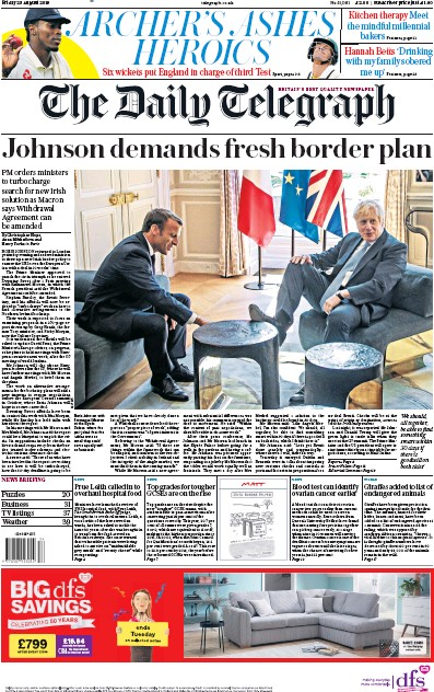 The Daily Telegraph Newspaper Front Page (UK) for 23 August 2019
