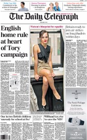 The Daily Telegraph (UK) Newspaper Front Page for 23 September 2014