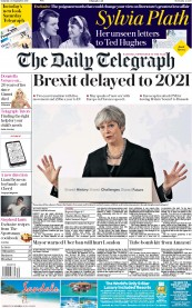 The Daily Telegraph (UK) Newspaper Front Page for 23 September 2017