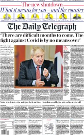 The Daily Telegraph front page for 23 September 2020