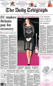 The Daily Telegraph (UK) Newspaper Front Page for 24 October 2014
