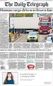 The Daily Telegraph (UK) Newspaper Front Page for 24 October 2019