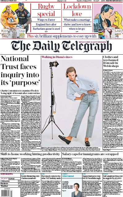 The Daily Telegraph Newspaper Front Page (UK) for 24 October 2020