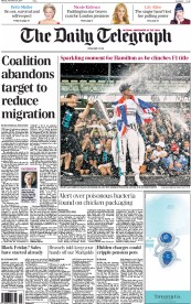 The Daily Telegraph (UK) Newspaper Front Page for 24 November 2014