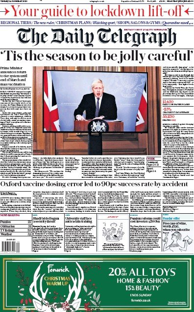 The Daily Telegraph Newspaper Front Page (UK) for 24 November 2020