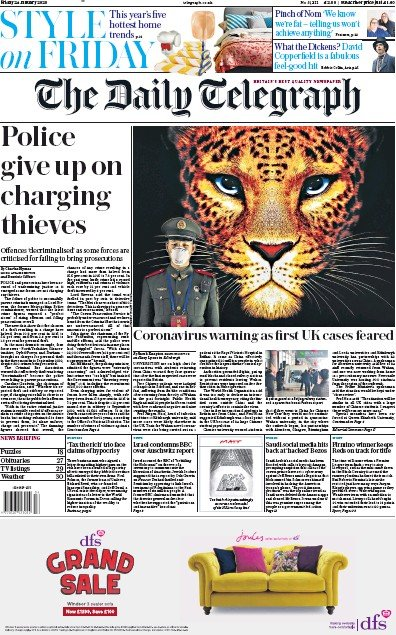 The Daily Telegraph Newspaper Front Page (UK) for 24 January 2020