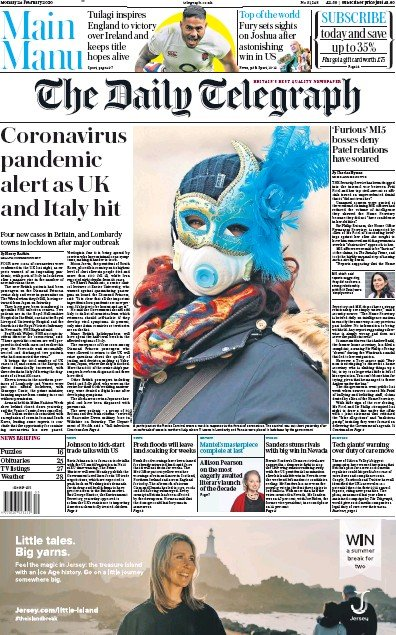 The Daily Telegraph Newspaper Front Page (UK) for 24 February 2020