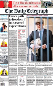 The Daily Telegraph front page for 24 February 2021