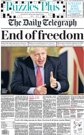 The Daily Telegraph (UK) Newspaper Front Page for 24 March 2020