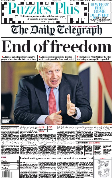 The Daily Telegraph Newspaper Front Page (UK) for 24 March 2020