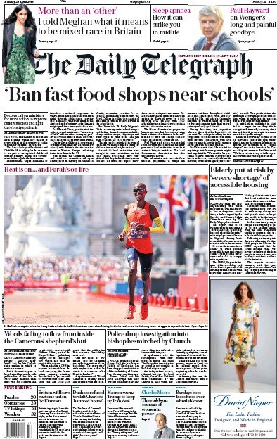 The Daily Telegraph Newspaper Front Page (UK) for 24 April 2018