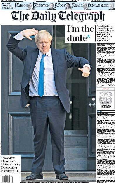 The Daily Telegraph Newspaper Front Page (UK) for 24 July 2019