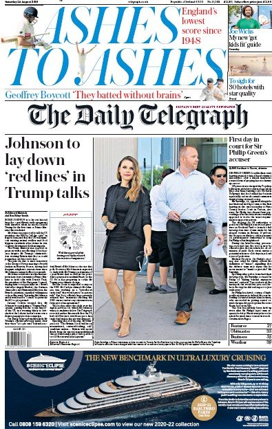 The Daily Telegraph Newspaper Front Page (UK) for 24 August 2019