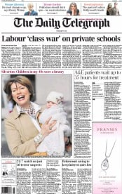 The Daily Telegraph (UK) Newspaper Front Page for 25 November 2014