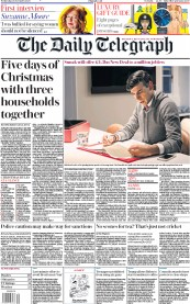 The Daily Telegraph front page for 25 November 2020