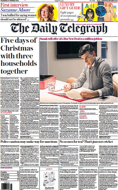 The Daily Telegraph Newspaper Front Page (UK) for 25 November 2020
