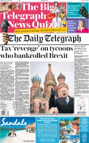 The Daily Telegraph (UK) Newspaper Front Page for 25 December 2017