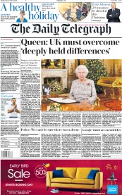 The Daily Telegraph (UK) Newspaper Front Page for 25 December 2018