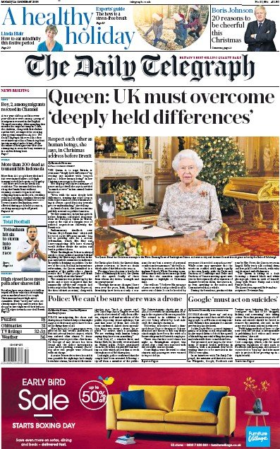 The Daily Telegraph Newspaper Front Page (UK) for 25 December 2018