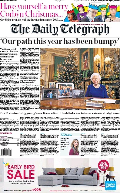 The Daily Telegraph Newspaper Front Page (UK) for 25 December 2019