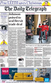 The Daily Telegraph (UK) Newspaper Front Page for 25 December 2020
