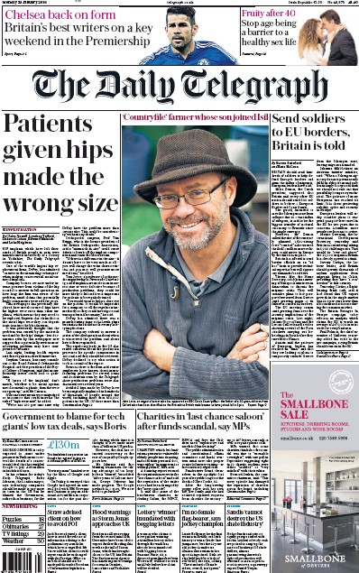 The Daily Telegraph (UK) Front Page for 25 January 2016 ... Daily Telegraph