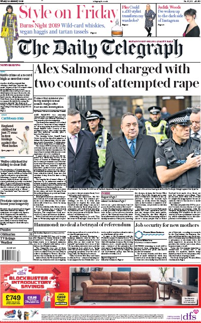 The Daily Telegraph Newspaper Front Page (UK) for 25 January 2019
