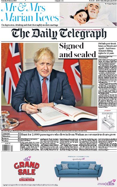 The Daily Telegraph Newspaper Front Page (UK) for 25 January 2020