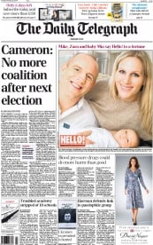 The Daily Telegraph () Newspaper Front Page for 25 February 2014