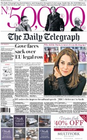 The Daily Telegraph (UK) Newspaper Front Page for 25 February 2016