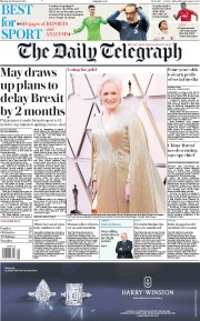 The Daily Telegraph () Newspaper Front Page for 25 February 2019
